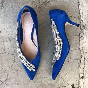 Zara Suede Electric Blue Kitten Heels